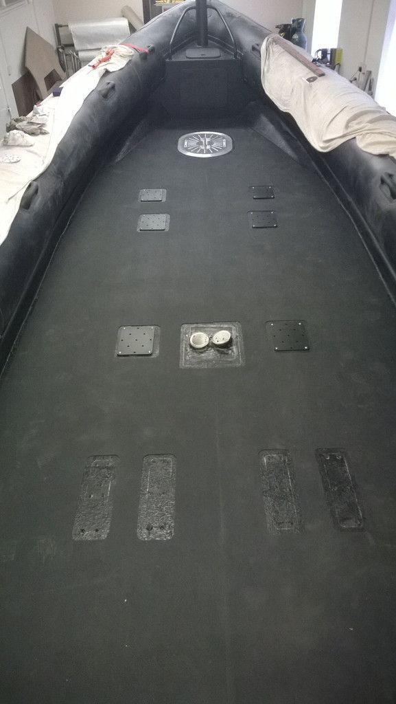 3M adhesivce backed GatorSkinz Bulk being fitting to the deck of a RIBQUEST RIB prior to suspension deck installation #Ribquest #rib #rhib #boat #deck #3M