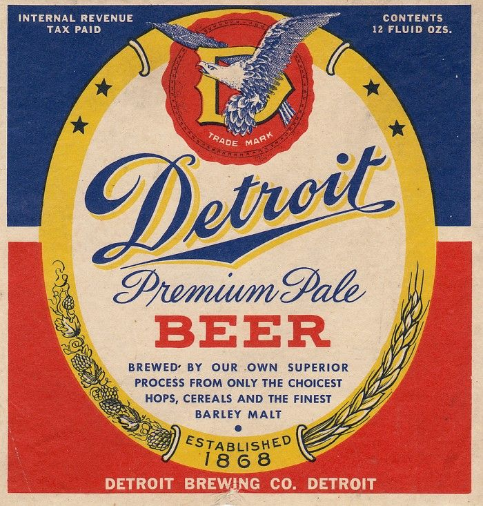 Most independent urban brands have emblems, this image inspires shape and typography. We could create our own general slogans instead of a brand name. Vintage Beer Labels from Michigan graphics
