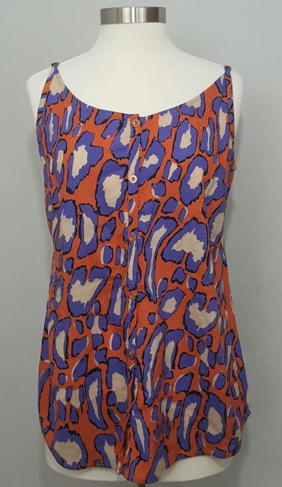 Normal wear, no visible flaws noted<br/><br/>CABI Isla Leopard Cami Style 5040. tiger lily orange, purplish blue & off-white animal print cami with adjustable straps & button front.   eBay!