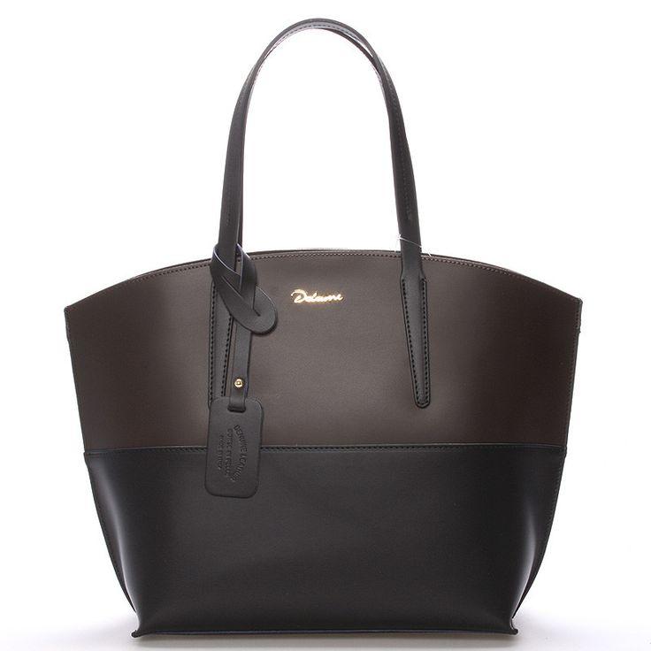 Luxusní dámska kožená kabelka v černo-hnědé barvě Delami s nadčasovým a zároveň trendy designem. Do kabelky se dostanete přes zip a uvnitř na vás čeká otevřený prostor s postranními kapsičkami. Novinka.