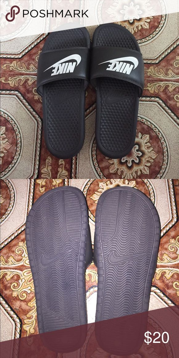 Nike Sandals/Slides Worn only once, still in great condition. Grey and white. In size 8 men. Just a little bit too big for me considering I'm 7.5 women. Nike Shoes Sandals & Flip-Flops