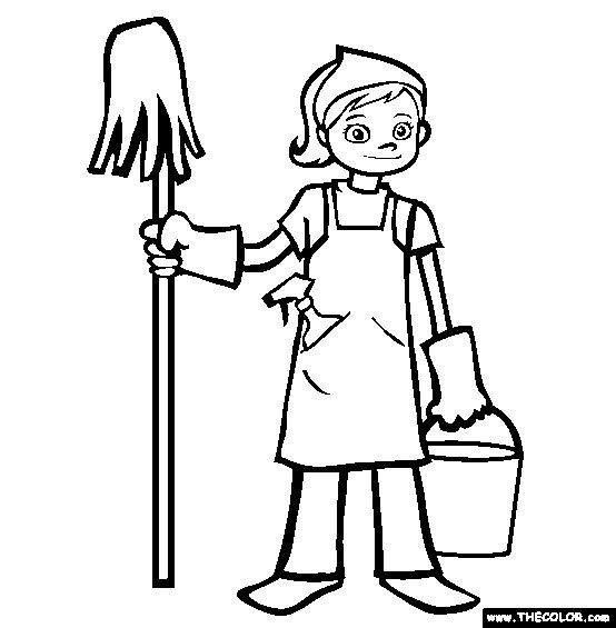 Spring Cleaning Online Coloring Page