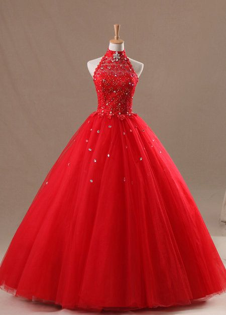 red corset lace halter long  quinceanera  dress, prom dress, ball gown , prom dress , party dress , on Etsy, $239.00