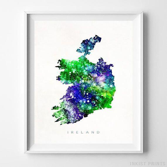 Ireland Map Print Irish Print Ireland Poster Irish Map Map Etsy Map Wall Art Watercolor Map Map Print