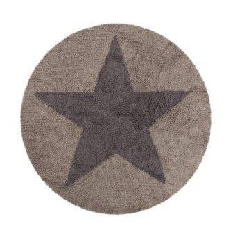 Vloerkleed rond ster omkeerbaar beige