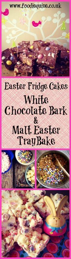 www.foodiequine.co.uk Easter Traybake Fridge Cake Recipes. White Chocolate Easter Bark and Malt-Easter Tray Bake with Mini Eggs and Maltesers. Use up those leftover Easter Eggs and Chocolate