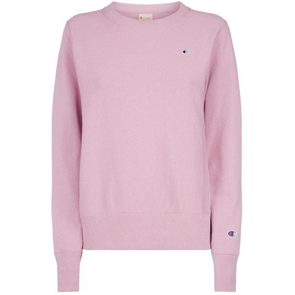 Champion Cotton Logo Embroidered Sweatshirt ($115) ❤ liked on Polyvore featuring tops, hoodies, sweatshirts, pink sweatshirts, sleeve top, champion sweatshirt, reversible top and cotton sweatshirts
