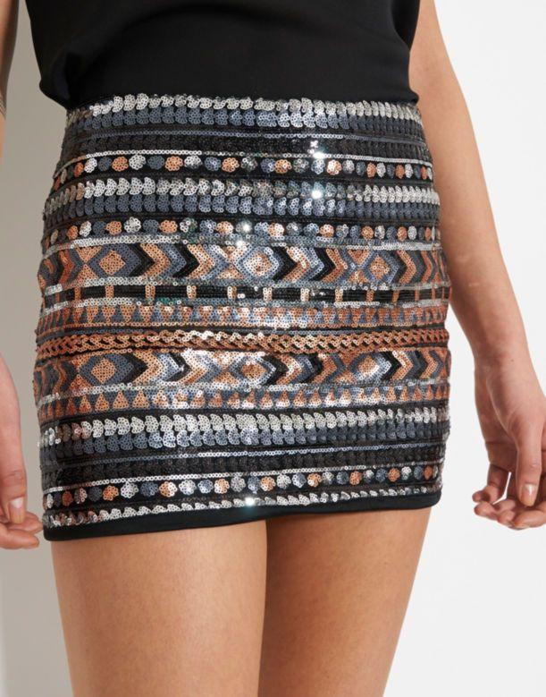 Glamorous Sequin Mini Skirt - BANK Fashion