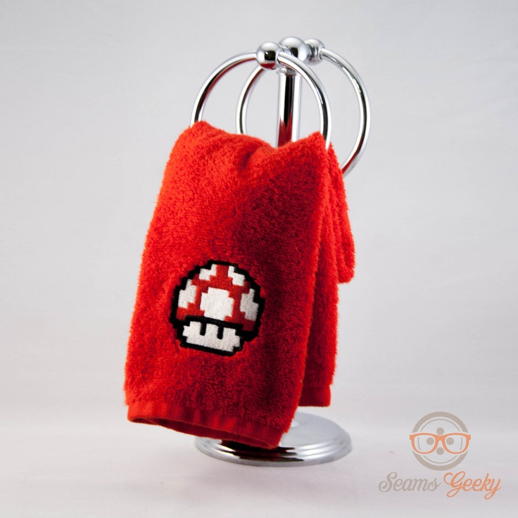 So much want, right now! This would go great in my Super Mario Themed Bathroom. Super Mario Bros.Embroidered Hand Towel. $10.00, via Etsy.