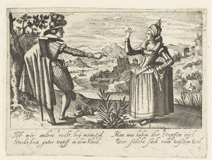Jacob van der Heyden | Ist mir anders recht, bey meim Eyd....., Jacob van der Heyden, 1608 | In een landschap op de voorgrond een staande man en vrouw, van opzij gezien.De man wijst op de vrouw; zij steekt haar rechterhand omhoog. Bij de man nr. 2, bij de vrouw, nr. 1: In de marge 4 regels onderschrift: 1. [uitgesproken door de vrouw]: Ist mir anders recht, bey meim Eyd/Steckt kein guter tropff in deim kleid. 2: [uitgesproken door de man]: Man mus haben der Tröpffen viel/ Wer solche säck…