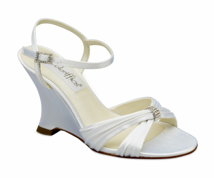 details about white satin dyeable rhinestone wedge heel bridal wedding shoes a8e1
