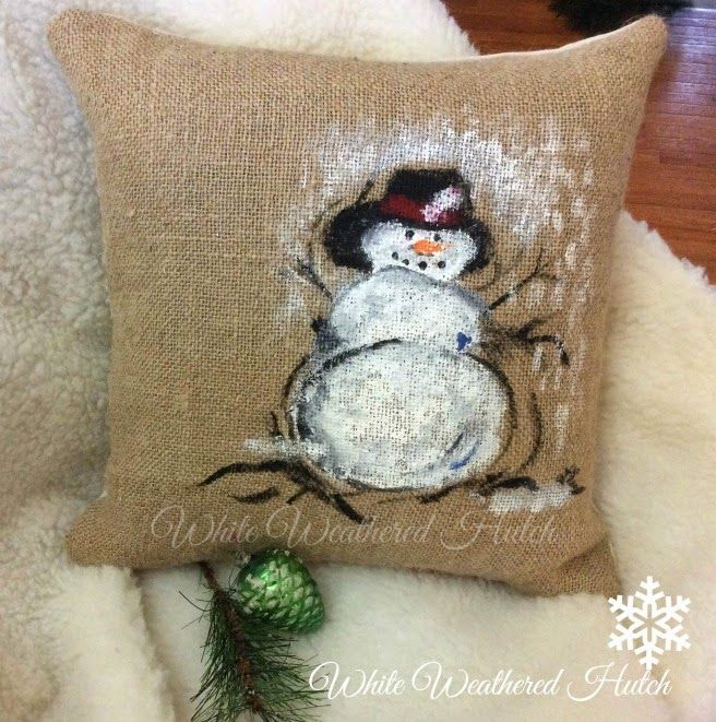 White Weathered Hutch: Painted Snowman Pillow/Pottery Barn Knock Off