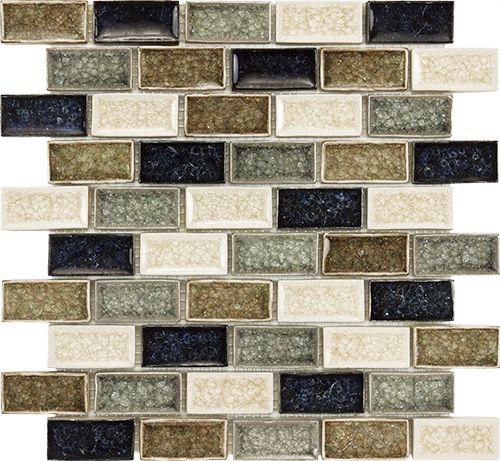 Sample Brown Crackle Glass Mosaic Tile Kitchen Backsplash: ... Bathroom 1x2 Brick Blue Brown