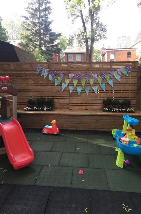 "We were pleased to receive images from a happy client who installed our Playground Tiles in their backyard just in time for their son's first birthday party. ""We celebrated our son's first birthday on Sunday after having the tiles installed. We are very happy with your product. It provides a great safe and stable surface for our son (and all his friends) to play on."" View the product on our website along with our other offerings www.dinoflex.com #dinoflex #playgroundtile #backyardreno"