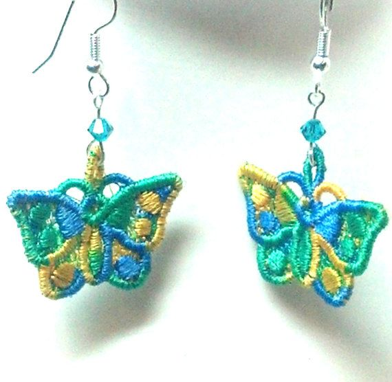 Green Blue and Yellow #Butterfly #Earrings by teresadelosh on Etsy, $8.00