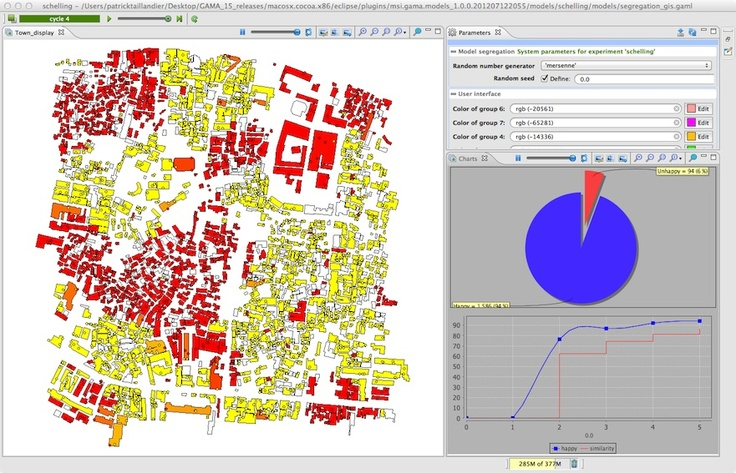 geographically explicit agent-based models with Repast, MASON, NetLogo and several other toolkits before, I recently came across an open source toolkit called Gis & Agent-based Modelling Architecture or GAMA for short. GAMA is developed by UMMISCO