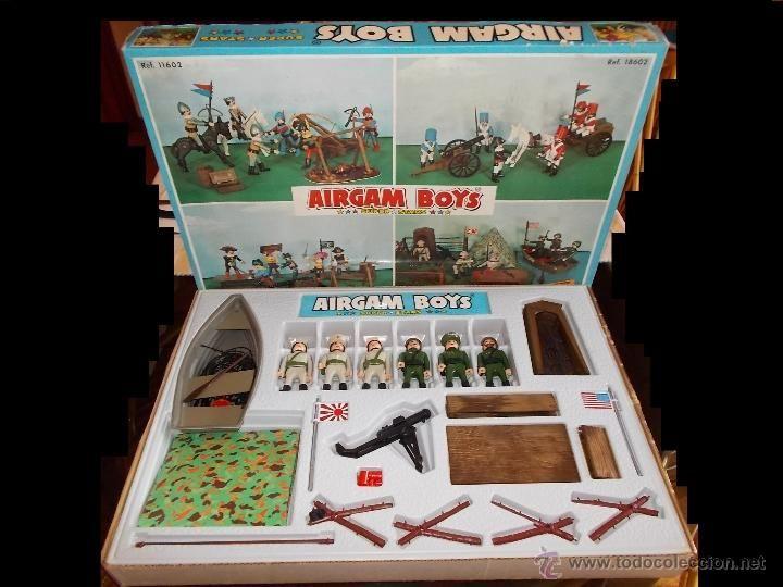 AIRGAMBOYS REF. 14602 SOLDADOS AMERICANOS Y JAPONESES CAJA GRANDE COMPLETA ORIGINAL AIRGAM AÑOS 70.