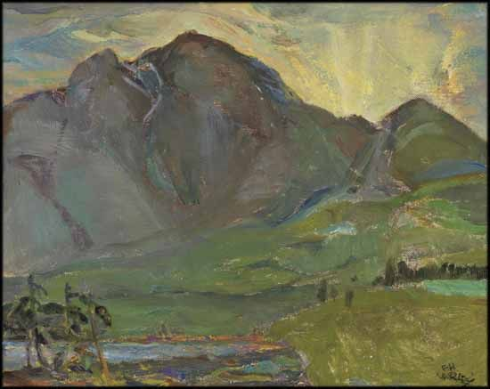 Frederick Horsman Varley - Pyramid Mountain, Jasper 11.75 x 14.75  oil on canvas board