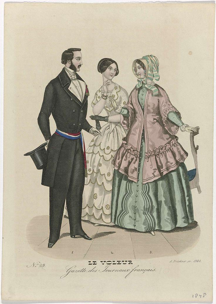 A. Brückner | Le Voleur, 1848, No. 29 : Gazette des Journeaux Français, A. Brückner, 1848 | Een man en twee vrouwen, genummerd één tot en met drie. 1: Jas, vest en lange broek. Geknoopte halsdoek. Hoge hoed. Gestreepte sjerp in rood, wit en blauw met aan de uiteinden franjes. Schoenen met vierkante neuzen en hakken. 2: Japon met bloemmotief en geschulpte zoom. 3: Groene japon met lange mouwen. Mantel met wijde halflange mouwen. Hoed met striklinten. Prent uit het modetijdschrift Le Voleur…
