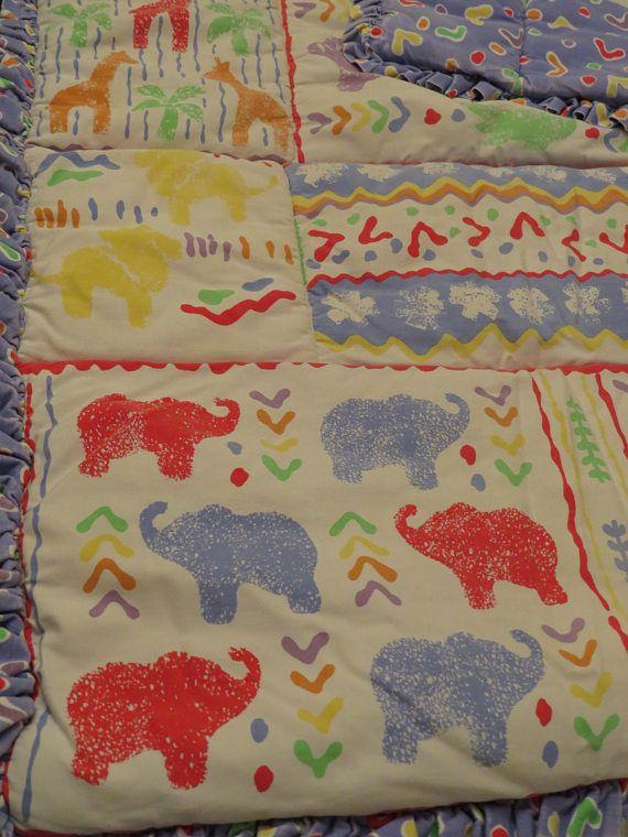 Vintage Totally 90 S Colorful Animals Crib Comforter Crib
