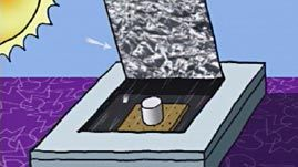 """In this video segment adapted from ZOOM, the cast tests two homemade solar cookers to determine which one can cook a """"s'more"""" faster. Both designs exploit the fact that heat flows in three ways: by conduction, convection, and radiation. Though one cooker performs better than the other, they both outperform the experiment's control setup."""