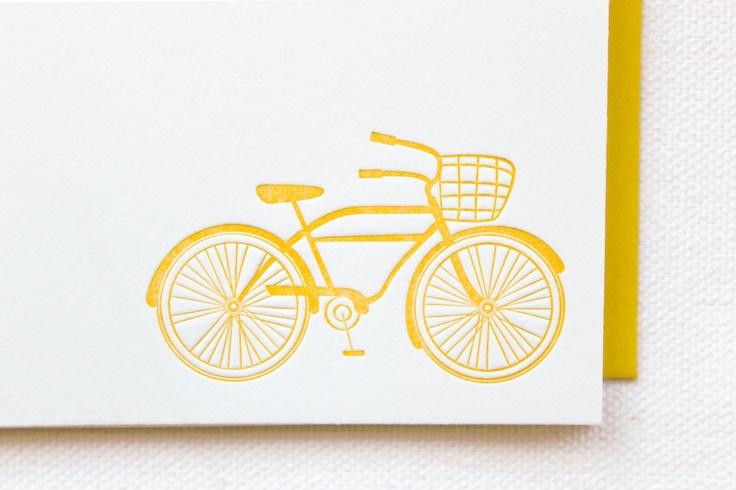 Bicycle Letterpress Cards. Set of 6. $15.00, via Etsy.