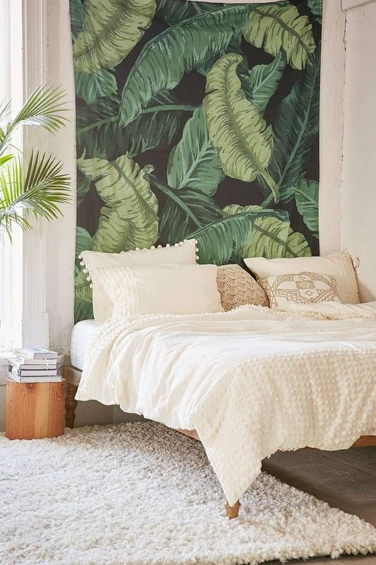 Plant inspired tapestry + soft neutrals