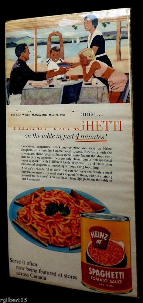 Heinz 57 Spaghetti Tomato Sauce Cheese 4 Minutes 1960 Vintage Original Color Ad #Heinz