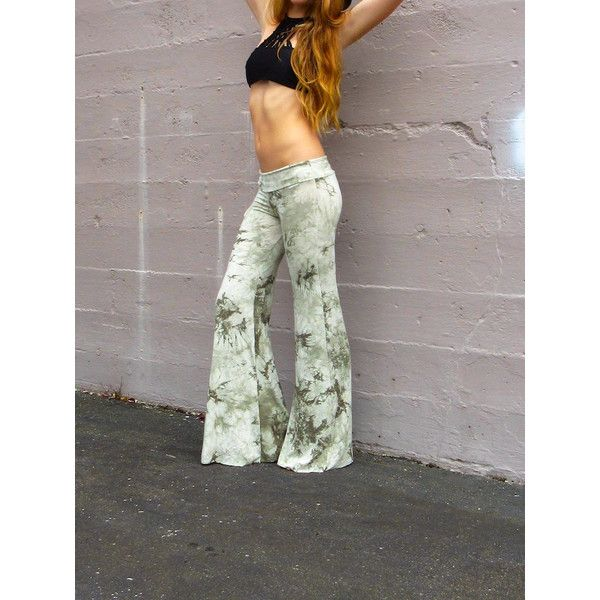 Bamboo Tie Dye Rayon Eco Palazzo Wide Leg Goucho Bell Bottom Bohemian... ($64) ❤ liked on Polyvore featuring pants, black, women's clothing, stretch waist pants, wide leg yoga pants, tie dye yoga pants, straight leg yoga pants and wide-leg pants