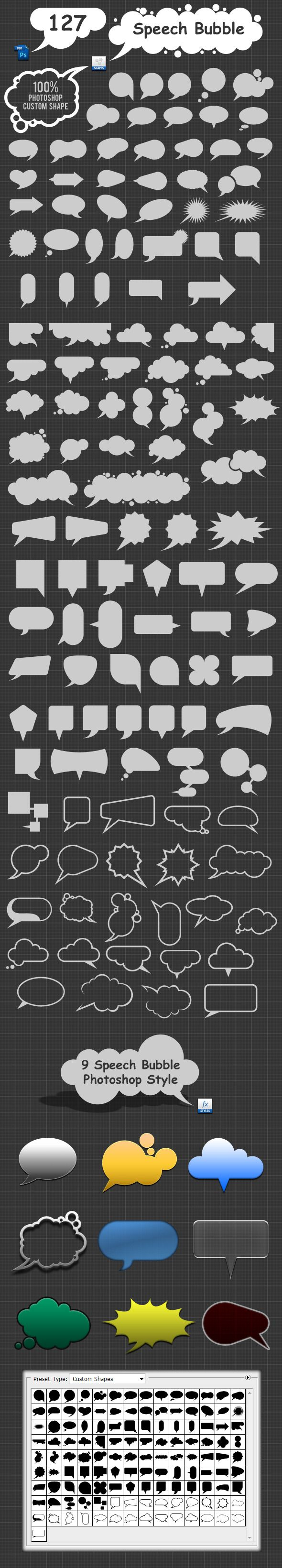 127 Speech Bubble Photoshop Custom Shapes - Objects Shapes