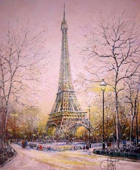 Paris, La Tour Eiffel | Peinture paris, Image paris, Louvre paris