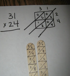 Advanced Multiplication; multiplication with beans and cups, lattice multiplication, Napier's Bones