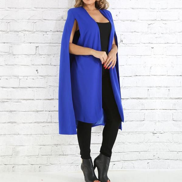 Plus Size Suiting Cape Blazer, Cobalt  Explore our amazing collection of plus size  suits at http://wholesaleplussize.clothing/