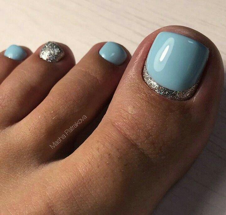 Blue Silver Toe Nailart Toe Nail Color Summer Toe Nails Simple