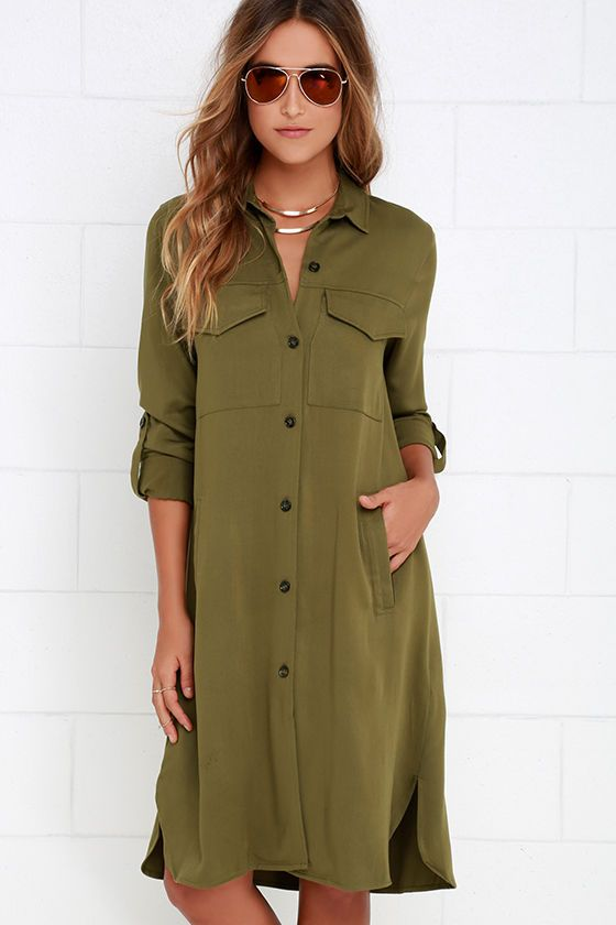 Be known for always styling the best of the best when you have the Chic Repertoire Olive Green Shirt Dress