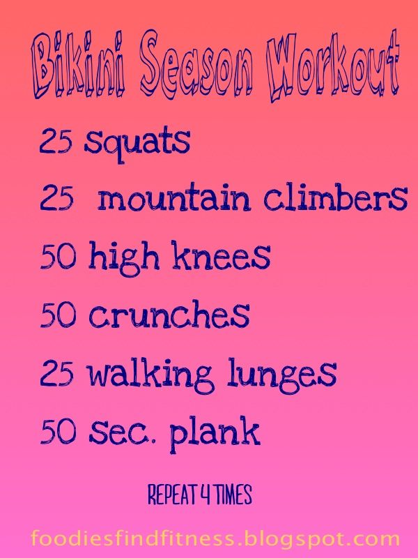 Fantastic pre-summer workout by Foodies Find Fitness!  I like the idea of these little work outs for in between gym days