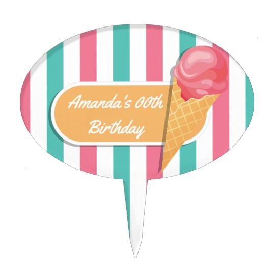 Ice Cream Birthday Party personalized Cake Topper