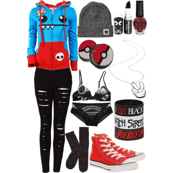 Black, Red, White, & Blue scene/emo girl outfit