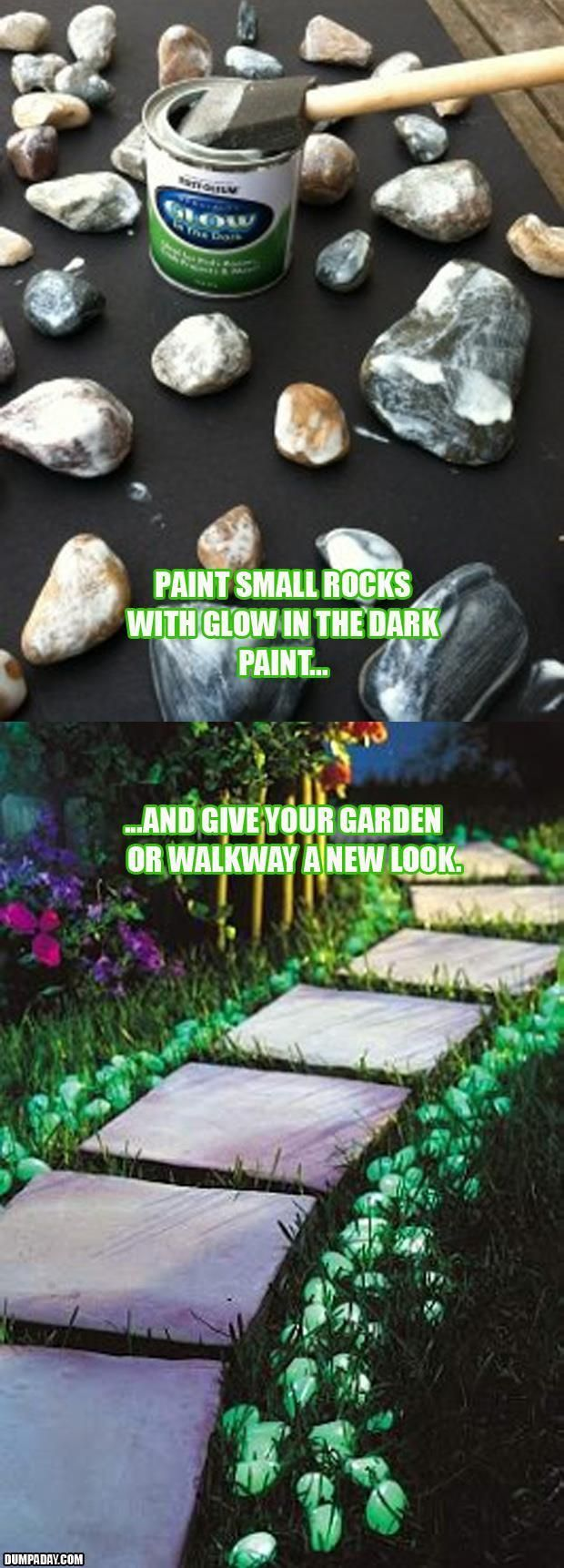 Glow in the dark paint is so practical for so many reasons.....paint an old can or two and take it camping to mark your camp site for visitors.....paint handrail so it is easy to find at night.....paint wind chimes, garden tools....the list is as long as your imagination!