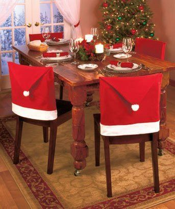 Santa Claus Clause Hat Chair Covers Set of 4 Decor Christmas Holiday Festive