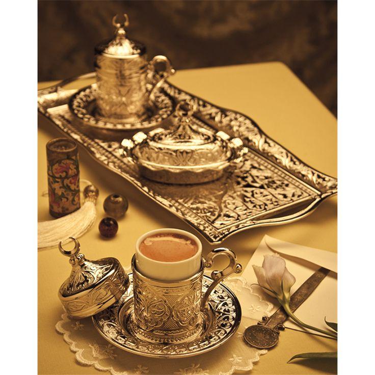 Hediyelik Gümüş Renk Hilalli Karizma 2'li Kahve Takımı