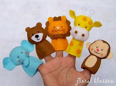 Felt Finger Puppets, toys, elephant, bear, lion, giraffe, monkey, play, children, crafts DIY