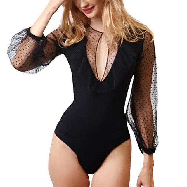 Now available in our store  Dot Patchwork Ruf...  Check it out here  http://lorinas-store.myshopify.com/products/dot-patchwork-ruffle-sheer-long-sleeve-bodysuit?utm_campaign=social_autopilot&utm_source=pin&utm_medium=pin