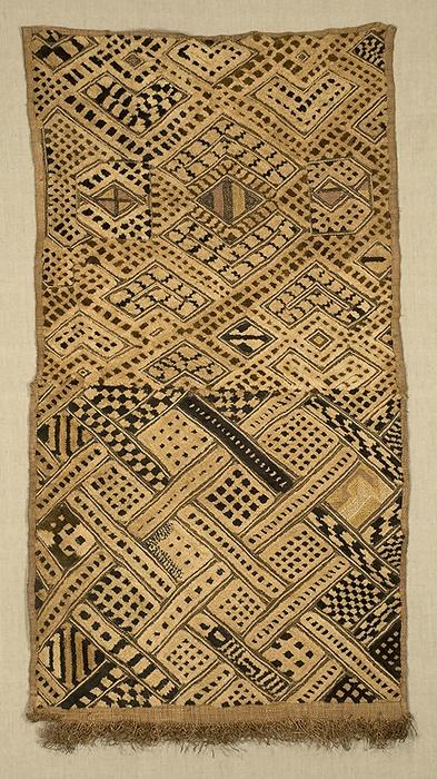 Africa | Boutala waist wrap, Kuba people. D R of Congo | Raffia cut-pile embroidery