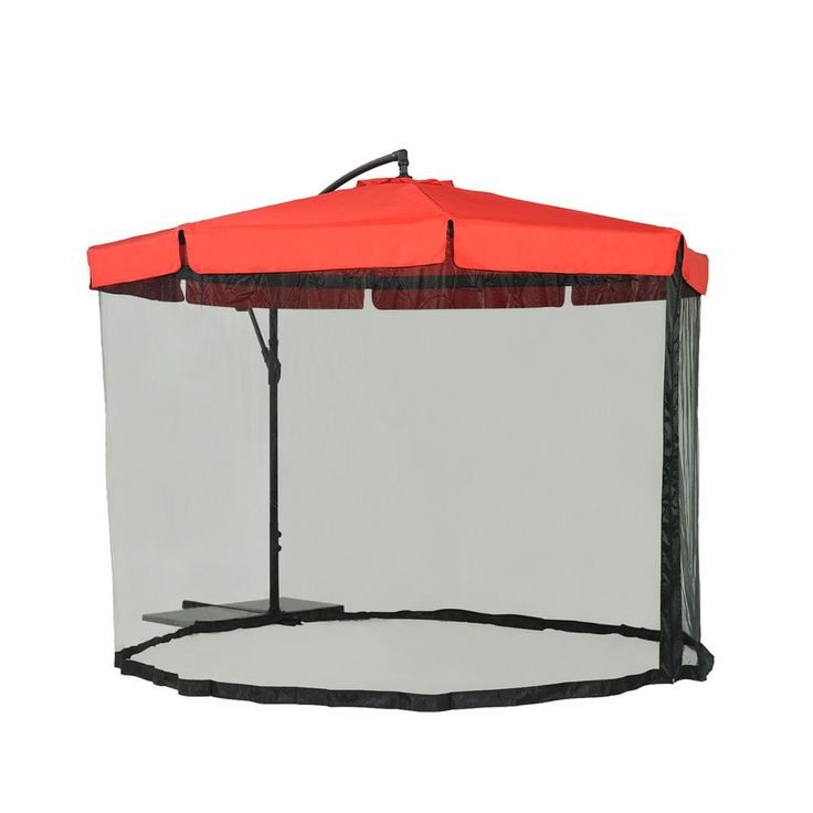 Steel Cantilever Patio Umbrella In Red