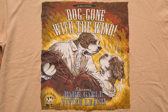 Big Dogs Dog-Gone with the Wind T-Shirt, XL, Movie Parody, Vintage 90s, Rap Hip Hop Apparel, St Bernard, Funny, Romance Film