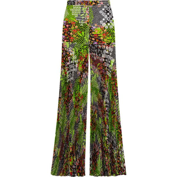 Versace Pleated floral-print silk-crepe wide-leg pants ($798) ❤ liked on Polyvore featuring pants, versace, trousers, lime green, sheer pants, high-waist trousers, pleated wide leg pants, high waisted wide leg trousers and flower print pants
