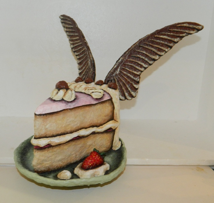 Cake Slice with Wings  Made in New Zealand By Gillian Saunders  $280 NZD  245m high and 320mm wide  see more of her work here  http://coolstoregallery.co.nz/GillianSaunders.htm
