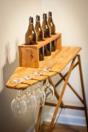 Recycled Antique Ironing Board Wine Bar by Simply Pallets on Etsy Follow us on Facebook at: www.facebook.com/SimplyPalletsNC