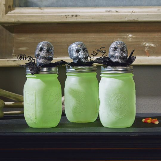 Skull Topped Mason Jar - DIY spooky Halloween decor with glow-in-the-dark painted Mason jars and our chilling skull stems.